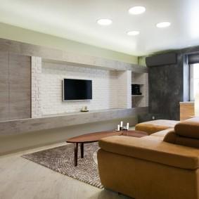 Минимум мебели в интерьере гостиной
