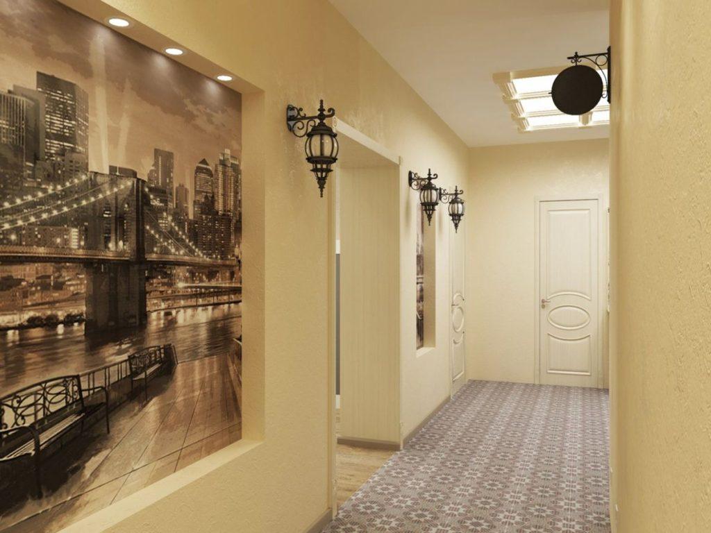 дизайн коридора с применением обоев и фотообоев экран вернулся