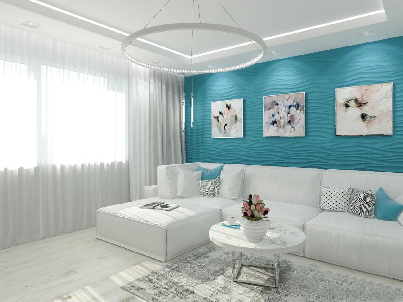 гостиная сочетание белого и лазурного цветов