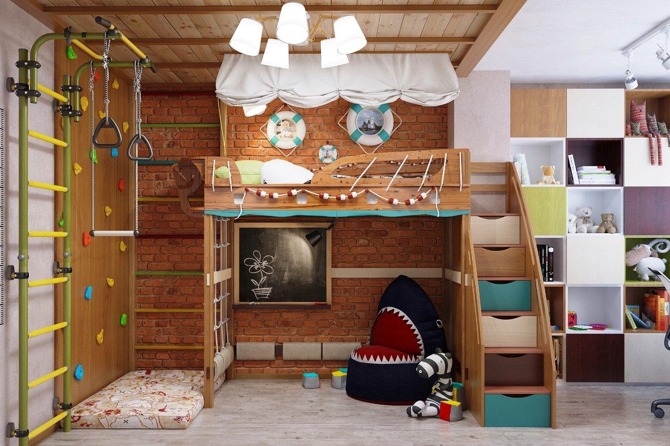 необычная детская кровать чердак с ящиками