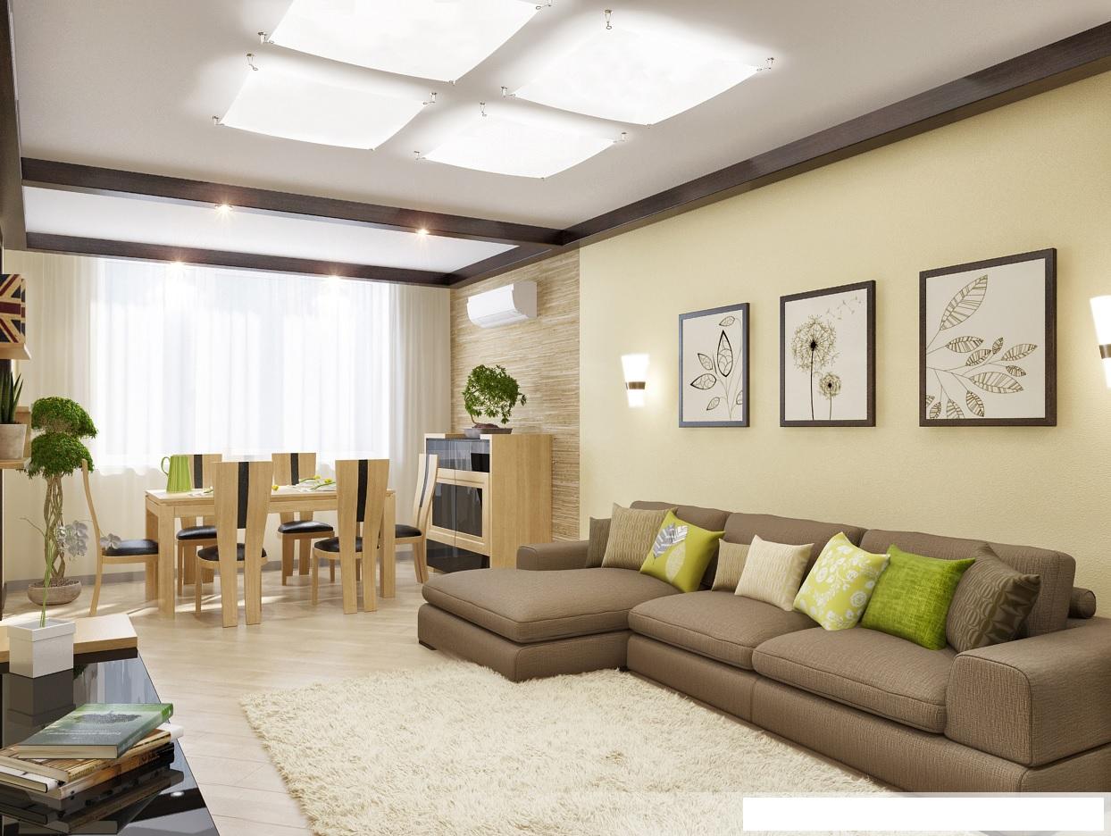 интерьер гостиной в стиле единение с природой