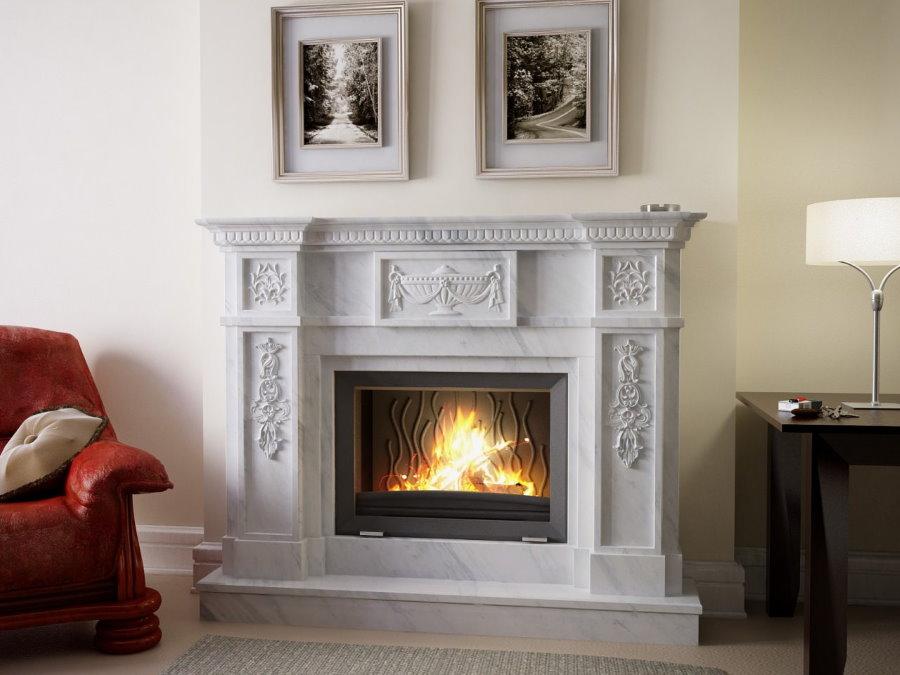 Имитация пламени в искусственном камине в гостиной