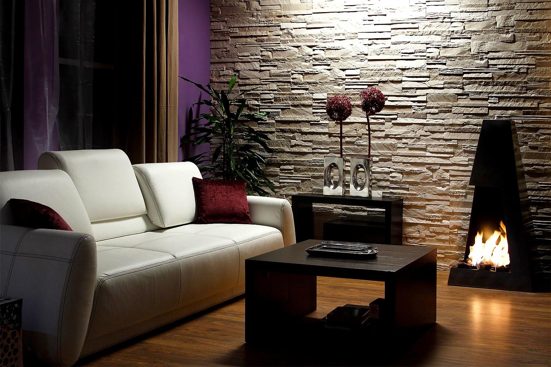 красивый дизайн интерьера с камнем