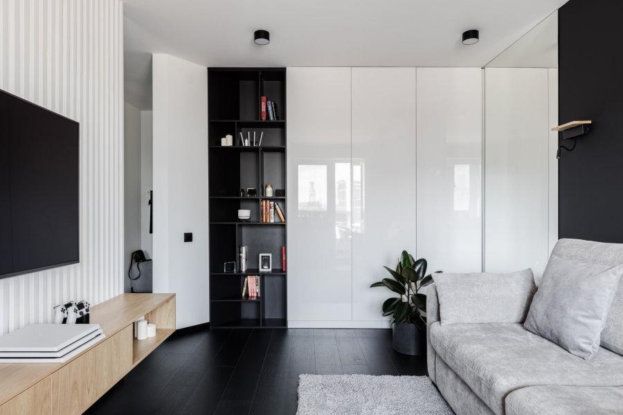 Встроенные шкафы в гостиной стиля минимализм