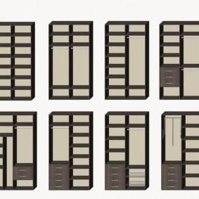 Схема размещения полок и ящиков в двустворчатом шкафу-купе