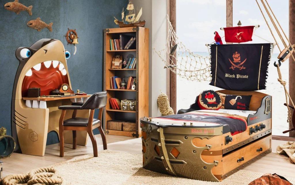 необычная детская кровать корабль