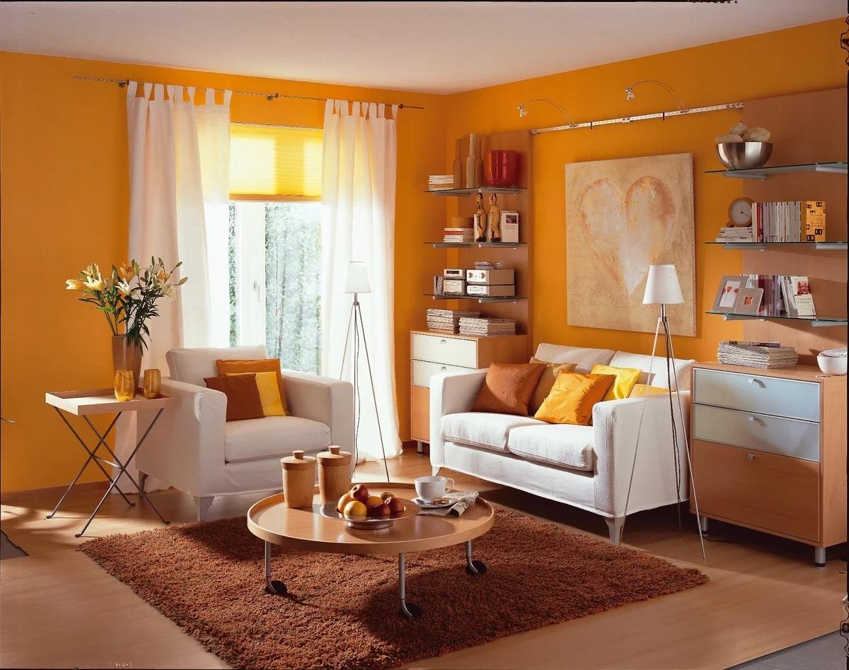 оранжевый цвет стен в гостиной