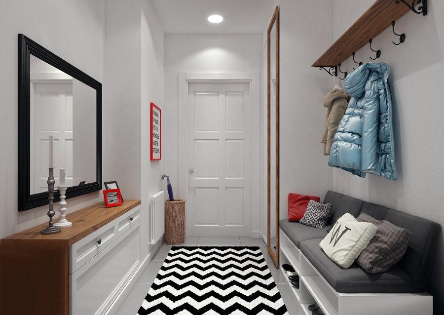 Отделка в белый цвет стен в прихожей 1 комнатной квартиры