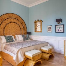 современная отделка спальни оформление фото
