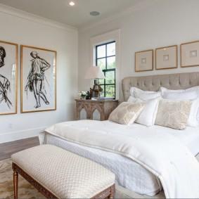 современная отделка спальни оформление