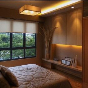 современная отделка спальни интерьер фото