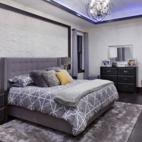 современная отделка спальни интерьер