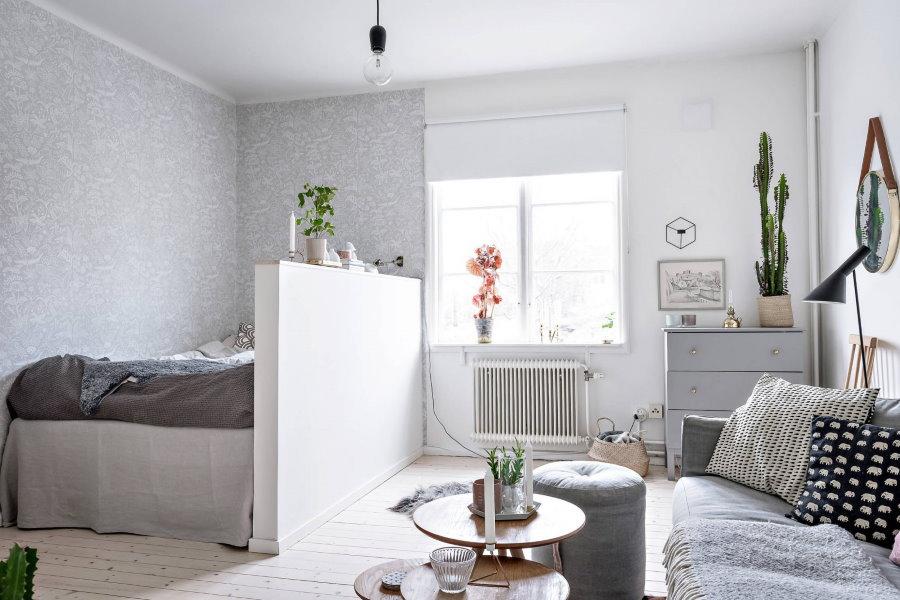 Зонирование обоями пространства маленькой комнаты