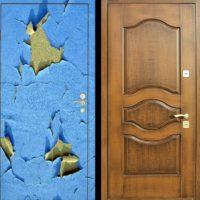 43948 Преображение старой железной входной двери: декорирование ламинатом, натуральным деревом и имитацией крокодиловой кожи