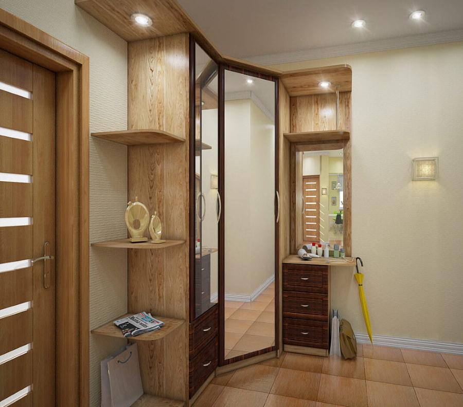 Распашной шкаф с зеркалами на дверцах
