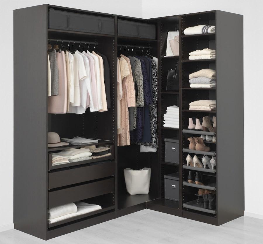Модульная угловая гардеробная темного цвета