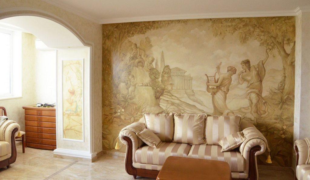 44403 Фрески на стенах: материалы, особенности поклейки