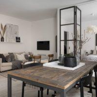 44972 Двухкомнатная квартира-студия: дерево, мрамор и металл