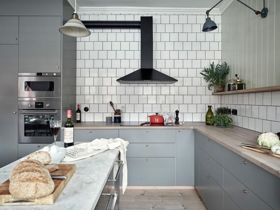 дизайн кухни цвет стен