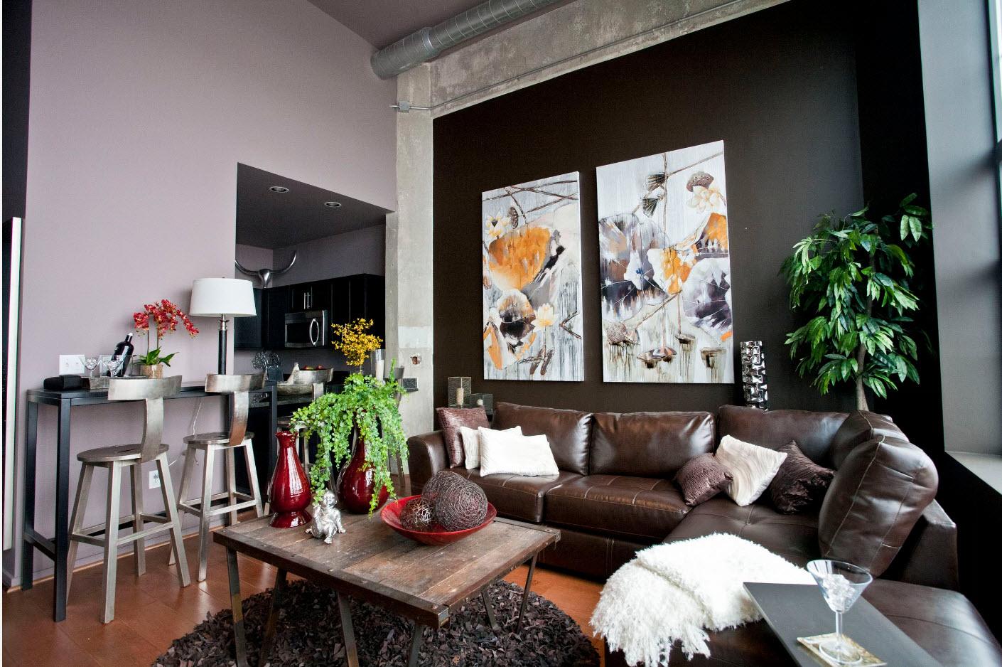 кожаный диван коричневый